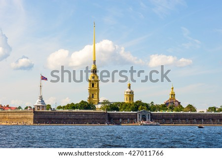 Peter and Paul Fortress across the Neva river, St. Petersburg, Russia
