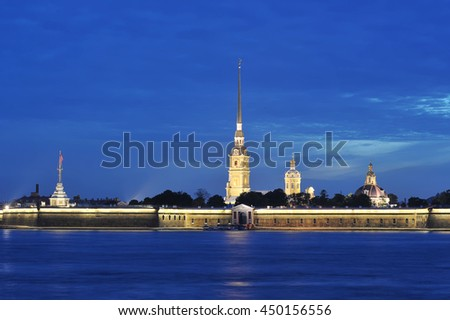 Peter and Paul Fortress, St. Petersburg, Russia - nigth view
