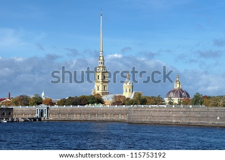 Peter and Paul Fortress with Peter and Paul Cathedral and Grand Ducal Burial Vault in Saint Petersburg, Russia - stock photo