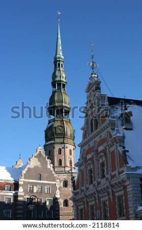 Peter Cathedral used to be the main cathedral during  middle ages for the inhabitants of Riga (Latvia). The first time the cathedral was mentioned in 1209. The cathedral has been rebuilt many times.