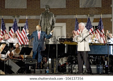 Peter Nero and the Philly Pops performing in front of historic Independence Hall, Philadelphia, Pennsylvania on July 3, 2010 - stock photo