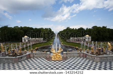 Petergof fontains, Saint Petersburg, Russia - stock photo
