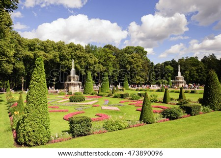 PETERGOF, RUSSIA - AUGUST 02, 2016: Lower park of Peterhof, St Petersburg, Russia. Peterhof palace was included in the UNESCO World Heritage List