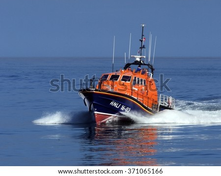 Peterhead, Scotland, 6th of June 2014, High speed search and rescue craft on exercise in the North Sea. - stock photo