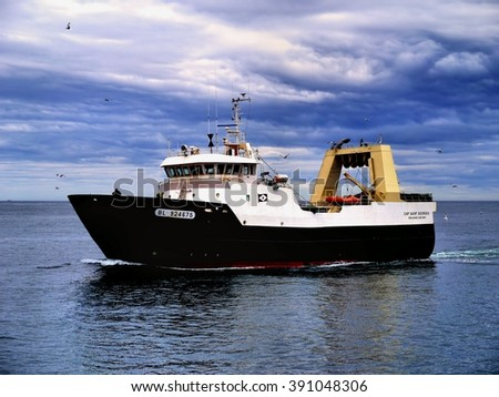 Peterhead, Scotland, 24th of May 2015, French fishing trawler underway at sea to fishing grounds. - stock photo