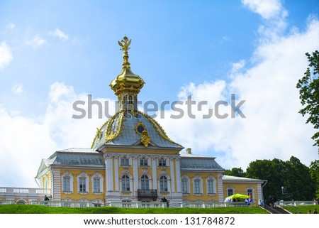 PETERHOF, RUSSIA - JULY 1: Peterhof Palace near St. Petersburg, Russia, May 1, 2012 in Peterhof, Russia. The name was changed to Petrodvorets in 1944, the original name was restored in 1997.