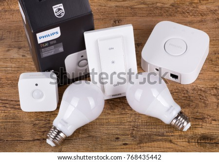PETERSBURG, ILLINOIS/USA-NOVEMBER 30, 2017: Philips Hue smart home lighting system using voice controlled devices, smartphone app, or accessories to control lights
