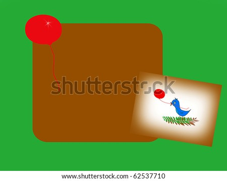 Petey on a Branch Catching a Balloon Text Box - stock photo