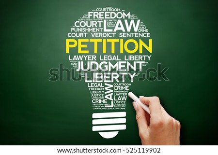 Petition Bulb Word Cloud Collage Business Stock Photo