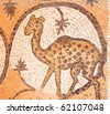 Petra church or Byzantine Church and its exquisite Byzantine floor mosaics, some of the best in the region. Ancient city of Petra ,Jordan - stock photo