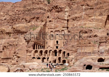 PETRA, JORDAN - APRIL 09, 2014: Petra, Jordan-- it is a symbol of Jordan, as well as Jordan's most-visited tourist attraction. Petra has been a UNESCO World Heritage Site since 1985 - stock photo