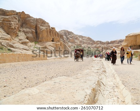 PETRA, JORDAN- APRIL 09, 2014: The road to Petra, Jordan, Middle East    - stock photo