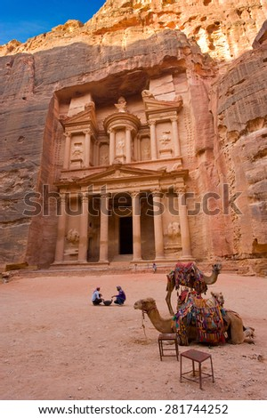 Petra, Jordan - October 12, 2014: The treasury is also called Al Khazna, it is the most magnificant and famous facade in Petra Jordan, it is 40 meters high. - stock photo