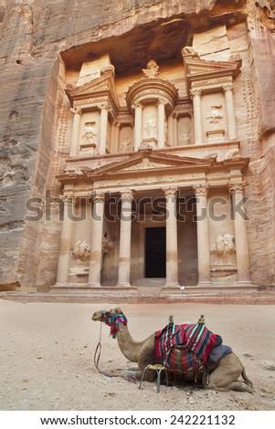 Petra, Lost rock city of Jordan. Petra's temples - stock photo