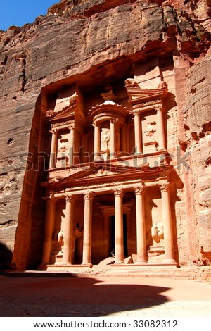 Petra, The Treasury. Petra's temples, tombs, theaters and other buildings are scattered over 400 square miles