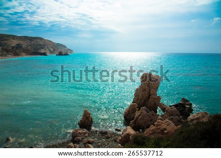 Petra tou Romiou, Aphrodite's birthplace. Paphos, Cyprus. - stock photo