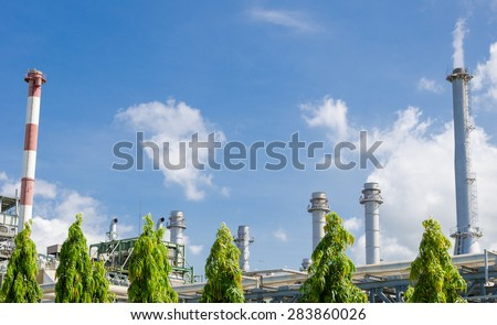Petrochemical industrial plant at bright sky