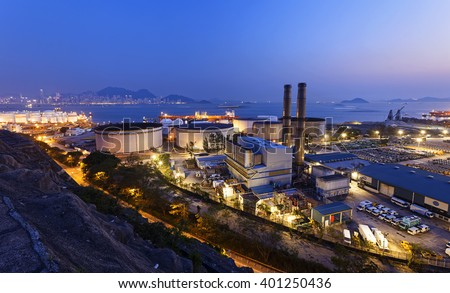 petrochemical industrial plant at night , Coal power station at Hong Kong - stock photo