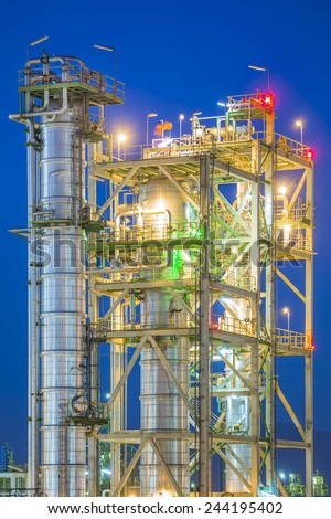 Petrochemical industrial plant on twilight - stock photo