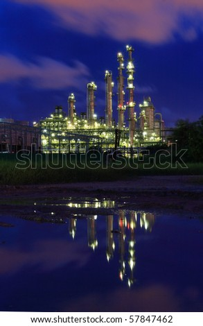 Petrochemical industry during twilight - stock photo