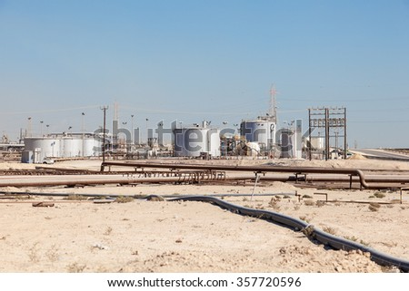 Petrochemical industry facilities in the desert of Bahrain, Middle East - stock photo