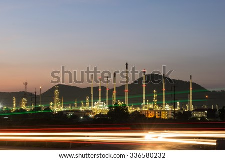 Petrochemical industry power station in evening of Thailand - stock photo