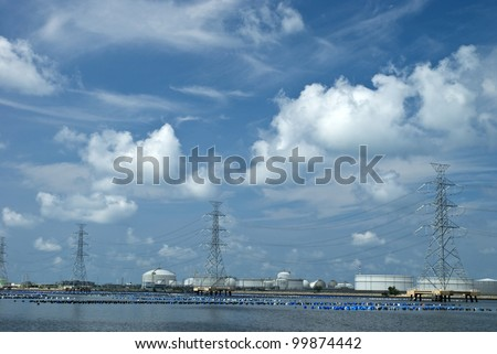 Petrochemical industry under beautiful sky in Maptaput indrustrial park, Thailand