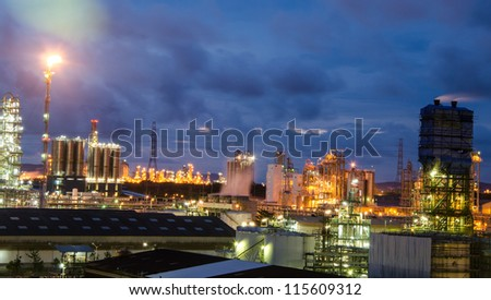 petrochemical plant at  twilight time