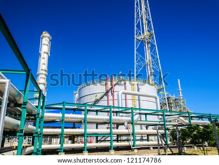 Petrochemical plant in industrial estate, Thailand