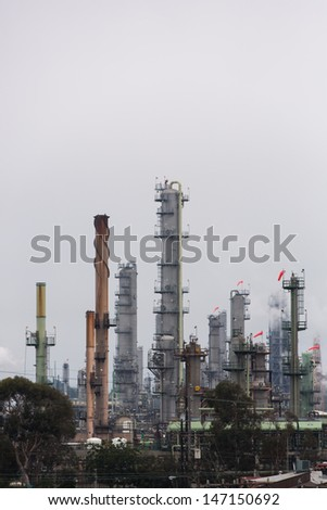 Petrochemical Plant in Portrait - stock photo
