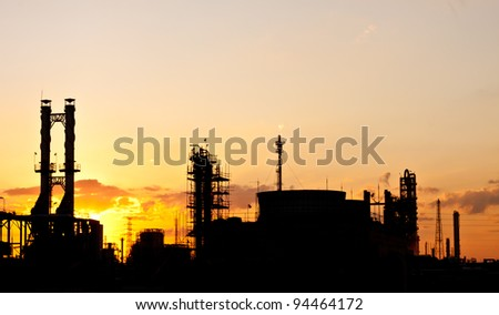 petrochemical plant in silhouette image - stock photo