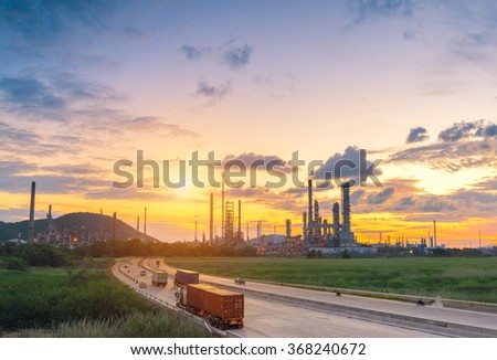 Petrochemical plant in sunshine - stock photo