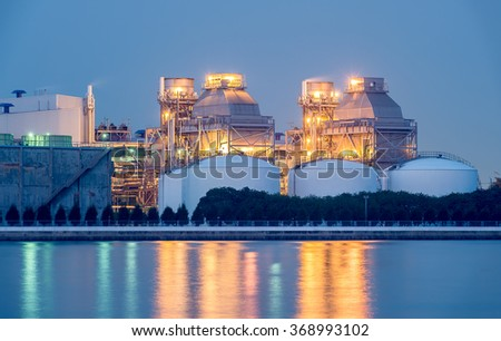 Petrochemical plant in twilight time. - stock photo
