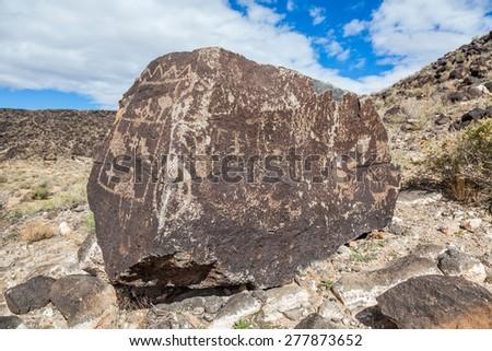 Petroglyphs at Boca Negra Petroglyph National Monument, Albuquerque, New Mexico - stock photo
