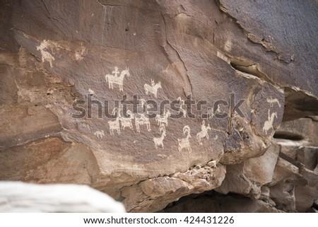 Petroglyphs in Utah - stock photo