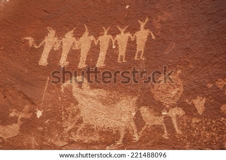 Petroglyphs - Moab, Utah - stock photo