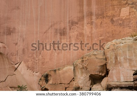 Petroglyphs of ancient Anasazi Indian tribe in Capitol Reef National Park - stock photo
