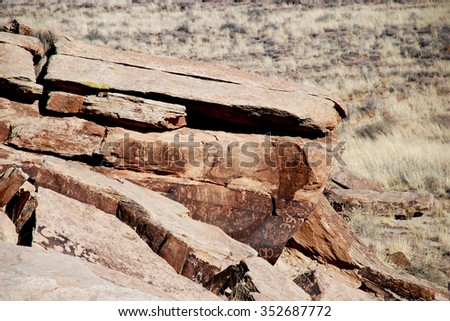 Petroglyphs on the rock in Petrified Forest National Park, Arizona