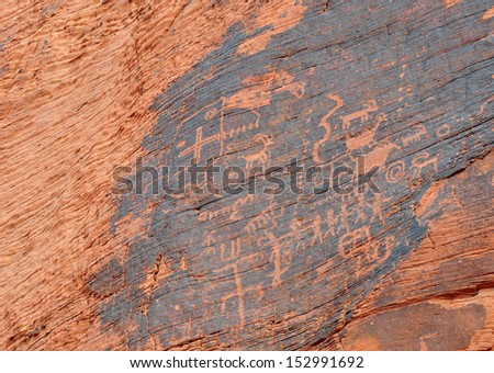 Petroglyphs, Valley of Fire, Nevada - stock photo