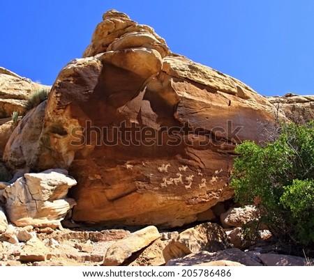 Petrographic of Nine Mile Canyon  - stock photo