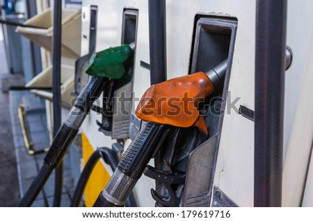 petrol fuel pump in gas station