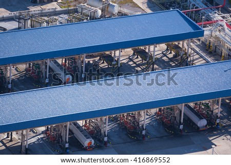 petrol fuel terminal, gas station fuel tankers - stock photo