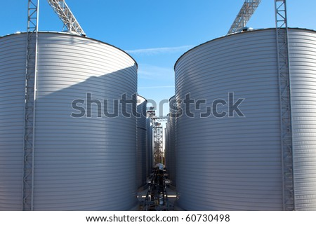 Petrol tanks with the blue sky in the background