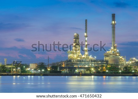 Petroleum chemical refinery close up at twilight