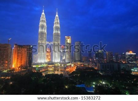 Petronas Twin Towers and the Kuala Lumpur Skyline - stock photo