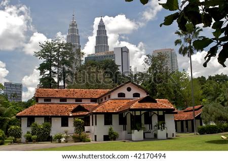 Petronas, Twin Towers in Kuala Lumpur - stock photo