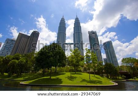 Petronas Twin Towers in Kuala Lumpur, Malaysia - stock photo