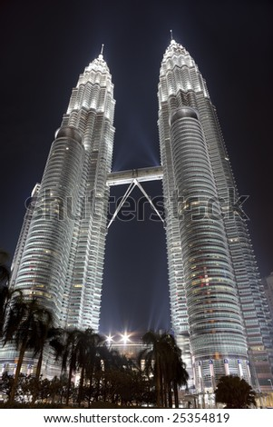 Petronas Twin Towers (Suria KLCC) at night - stock photo