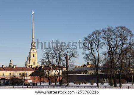 Petropavlovskaya fortress in saint-Petersburg - stock photo