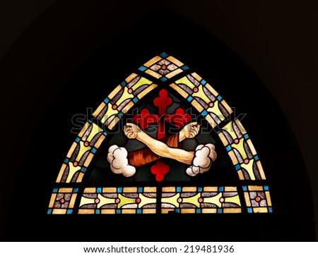 PETROPOLIS, RIO DE JANEIRO / BRAZIL - August 22, 2014: Sacred art - Parish Catholic Church of the Sacred Heart of Jesus - Inaugurated in 1874 - stock photo